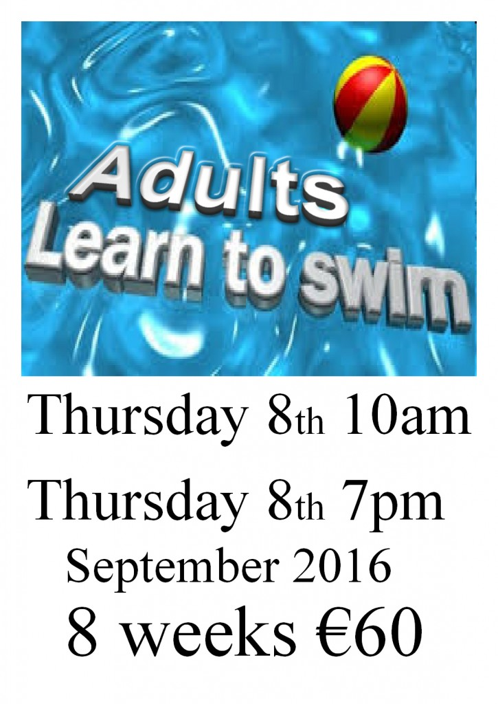 Adult swimming lessons Sep 2016 poster